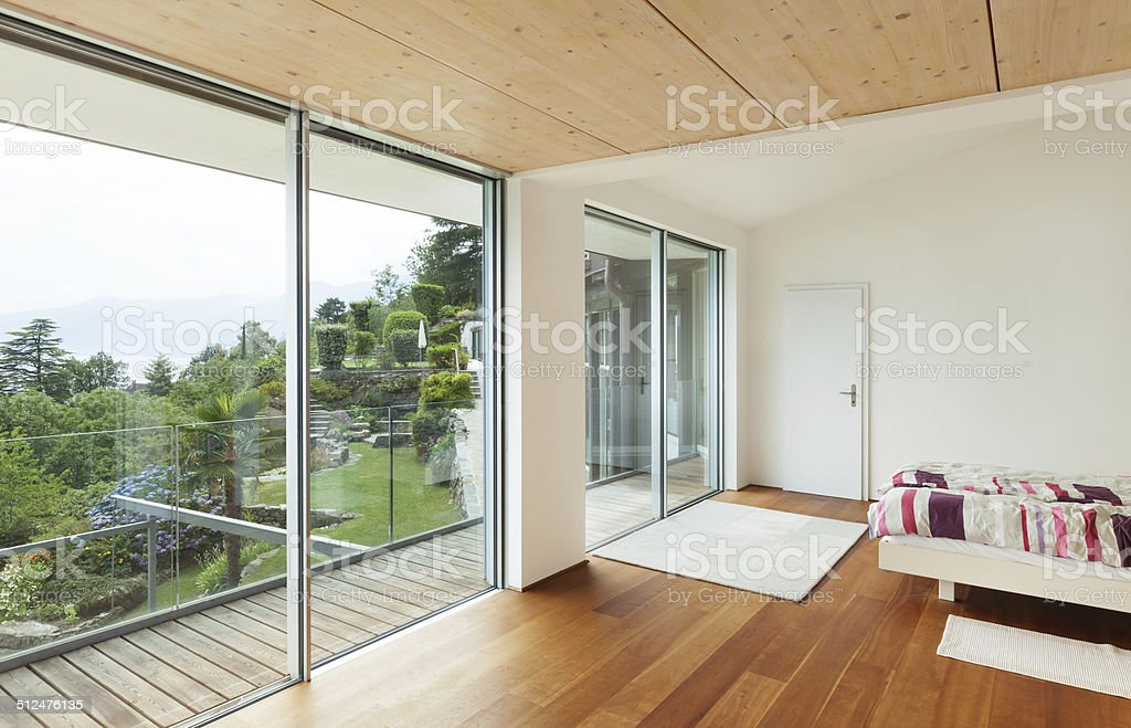 interior, modern house, bedroom stock photo