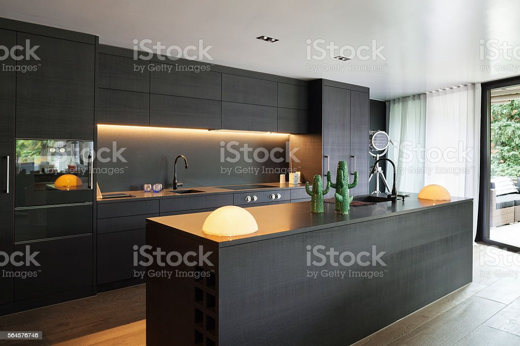 Interior, Modern kitchen stock photo
