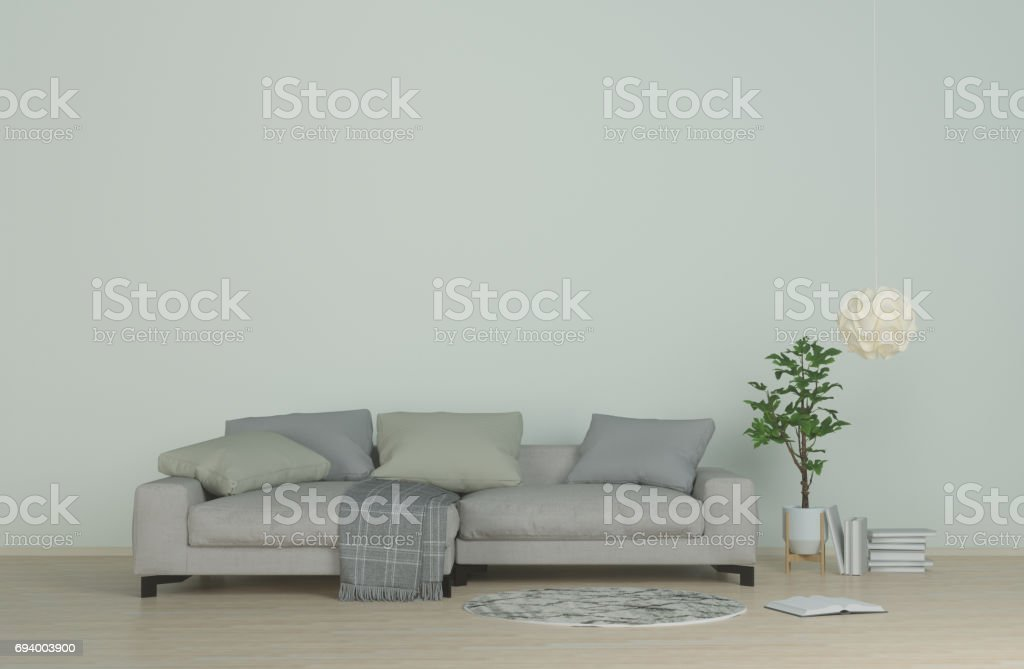 Interior modern living clean wall,sofa on wood floor,carpet and hanging lamps In the living room 3d rendering stock photo