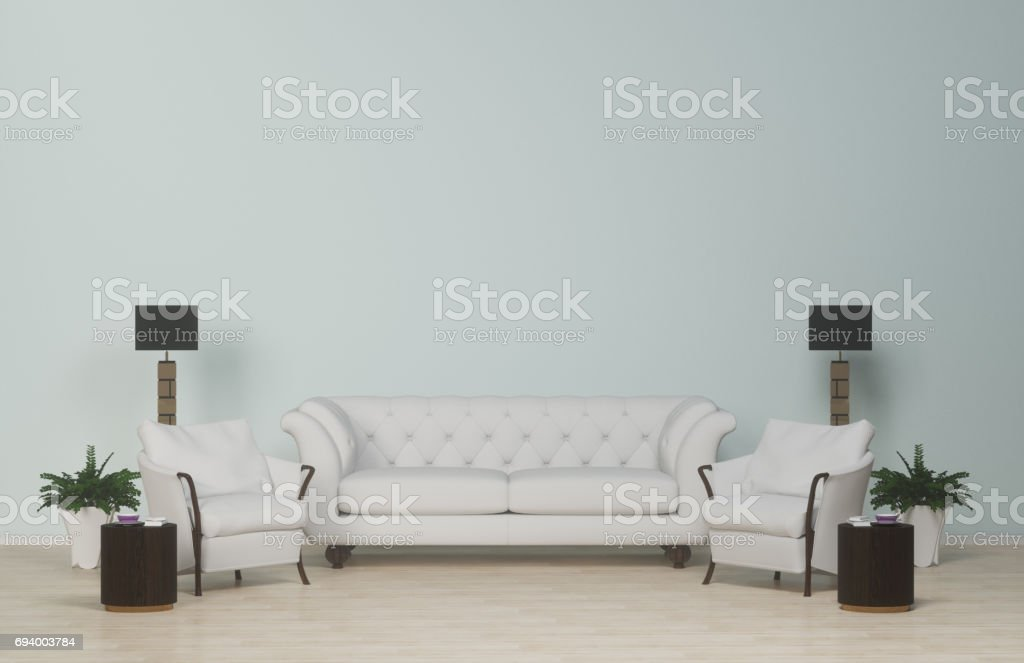 Interior modern living clean wall,white sofa  and armchair on wood floor,carpet and floor lamps in the living room,Business room,3d rendering stock photo