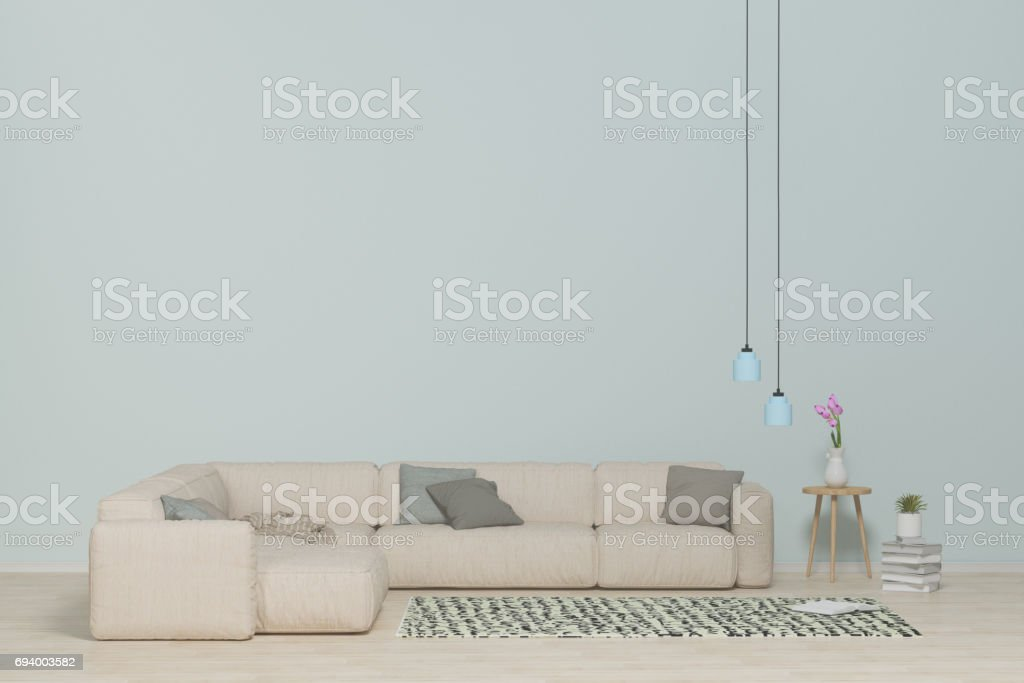 Interior modern living,White sofa on wood floor,Carpet and hanging lamps In the living room 3d rendering stock photo