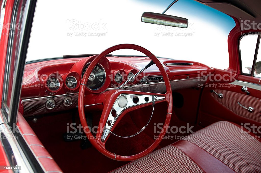 Interior of 1957 Chevrolet stock photo
