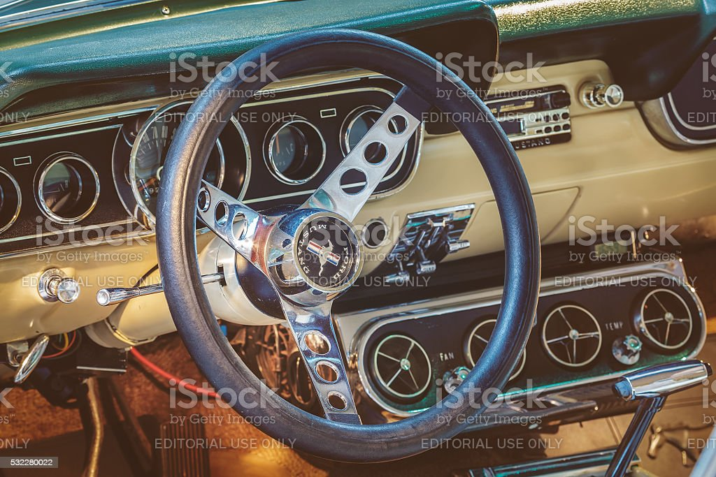 Interior of a 1966 Ford Mustang Fastback stock photo