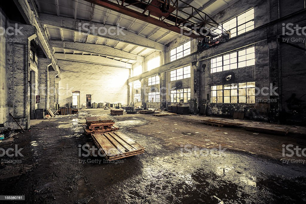 Interior of a Abandoned Factory royalty-free stock photo