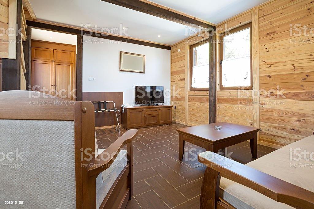 Interior of a apartment in mountain hotel stock photo