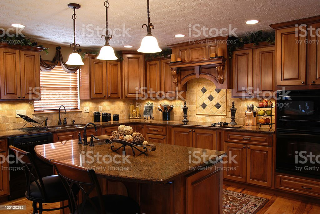 Interior of a beautiful custom kitchen stock photo