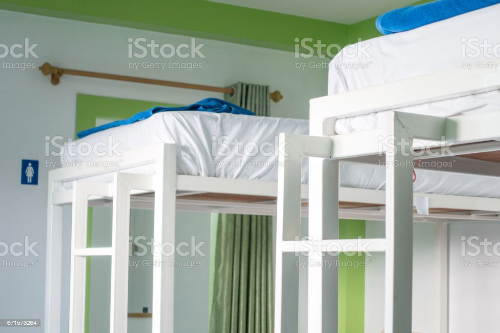 Interior of a bedroom in hostel. stock photo