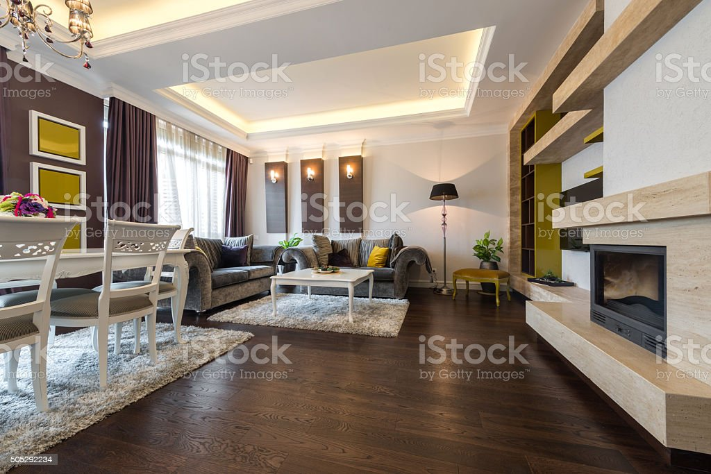 Interior of a bright living room stock photo