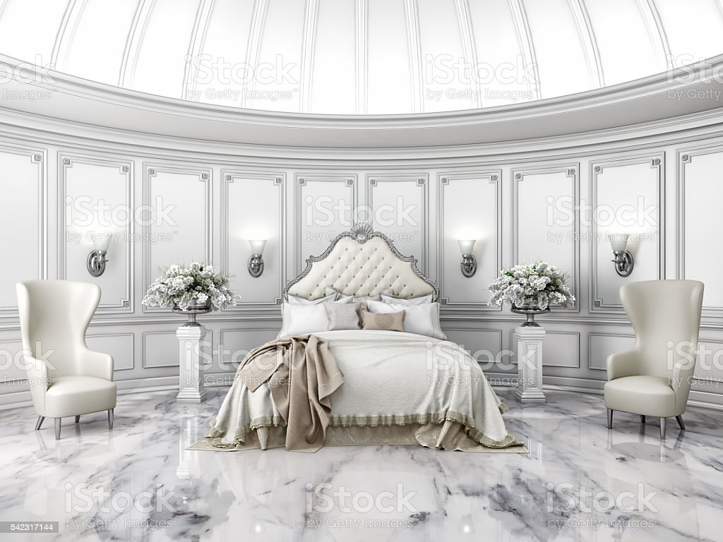 Interior of a classic style round bedroom in luxury villa stock photo