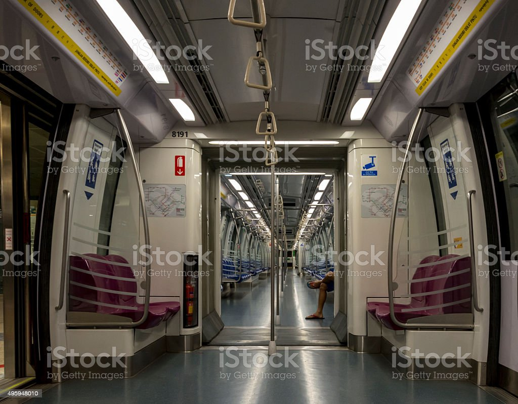 Interior of a clean, new empty subway carriage stock photo