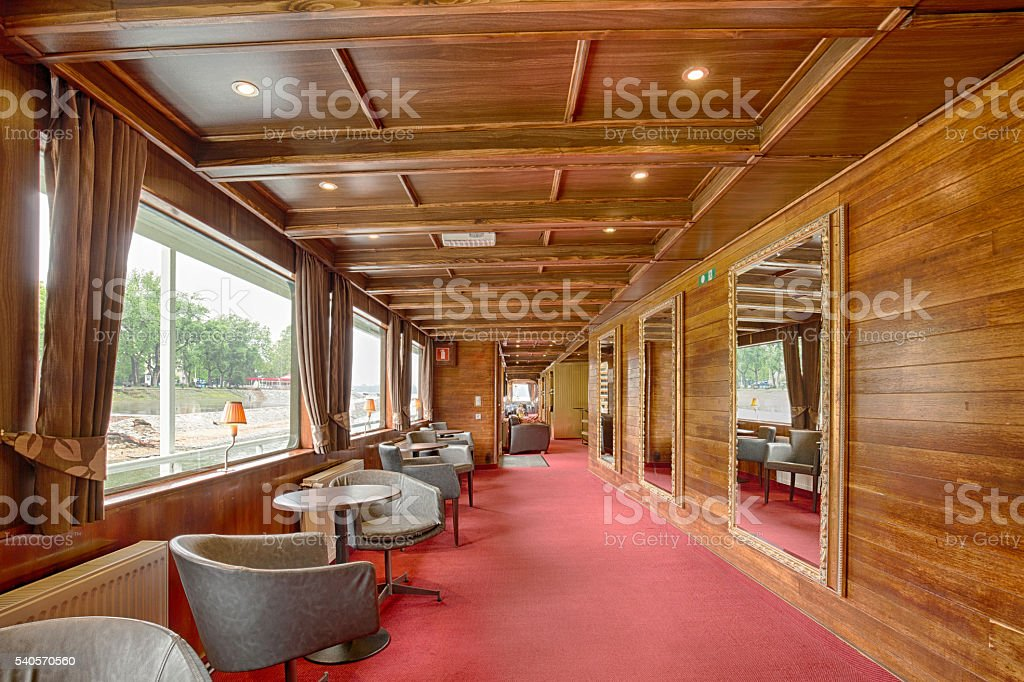 Interior of a cruise boat cafe bar stock photo