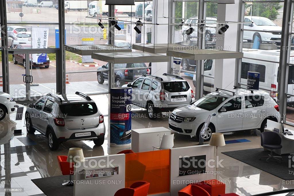 Interior of a Dacia dealership building stock photo