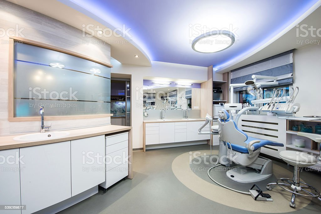 Interior of a dentist's office and special equipment stock photo