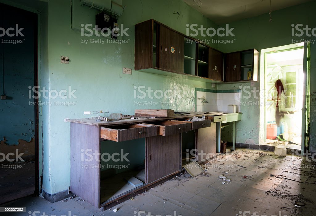 Interior of a dirty abandoned cuisine room stock photo