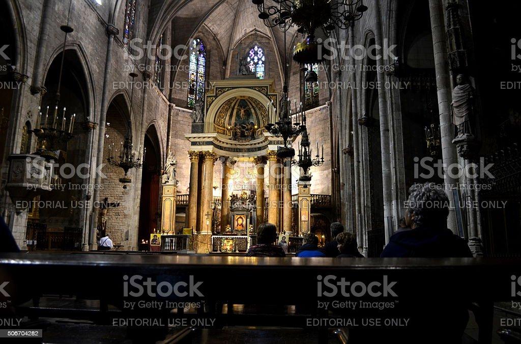 Interior of a Església dels Sants Just i Pastor stock photo
