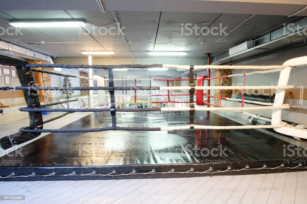 Interior of a fitness hall with punching bags stock photo