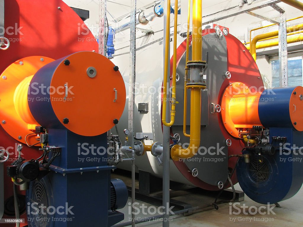 Interior of a gas boiler house royalty-free stock photo