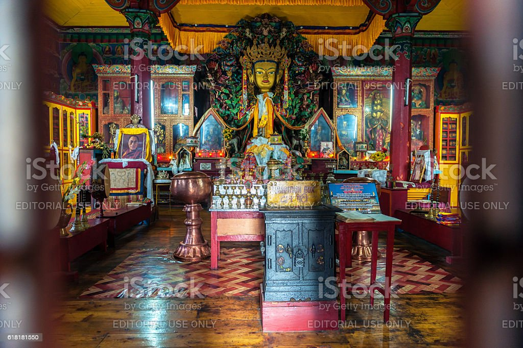 Interior of a Ghoom Buddhist Monastery,Darjeeling, West Bengal, India stock photo