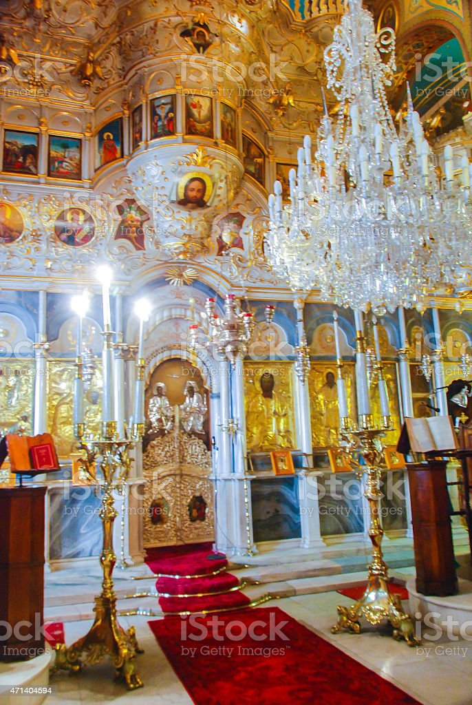 Interior of a Greek Orthodox Church stock photo