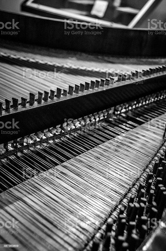 Interior of a Harpsichord stock photo