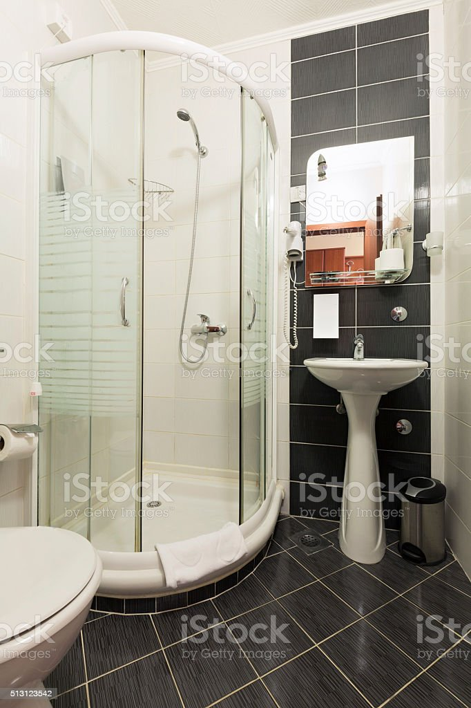 Interior of a hotel bathroom stock photo