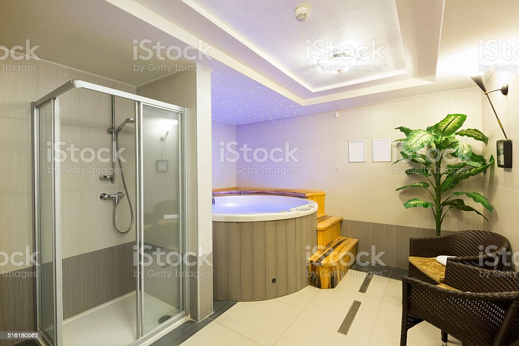 Interior of a hotel spa center with shower and jacuzzi stock photo