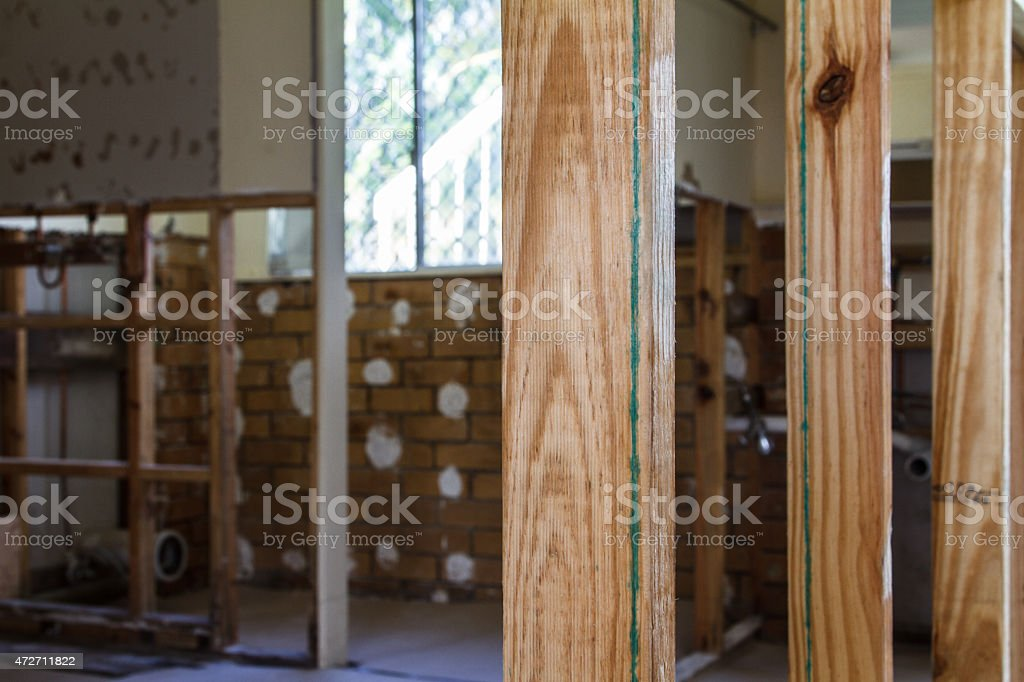 Interior of a house being stripped for demolition stock photo