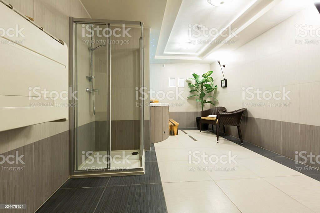Interior of a htel spa centar with shower and jacuzzi stock photo