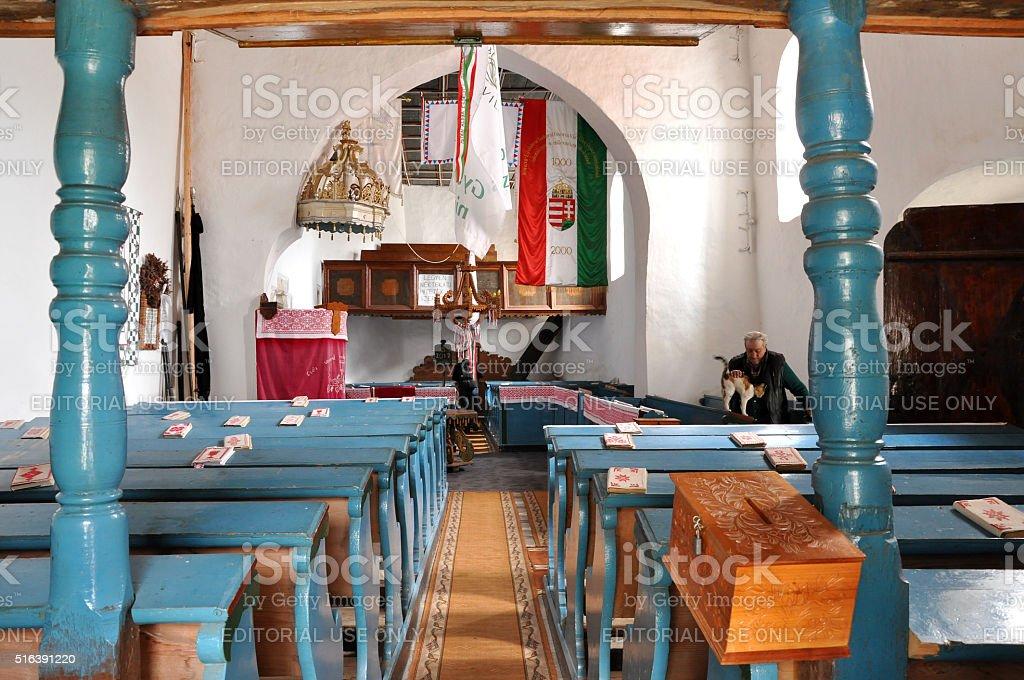 Interior of a Hungarian Unitarian church in Transylvania stock photo