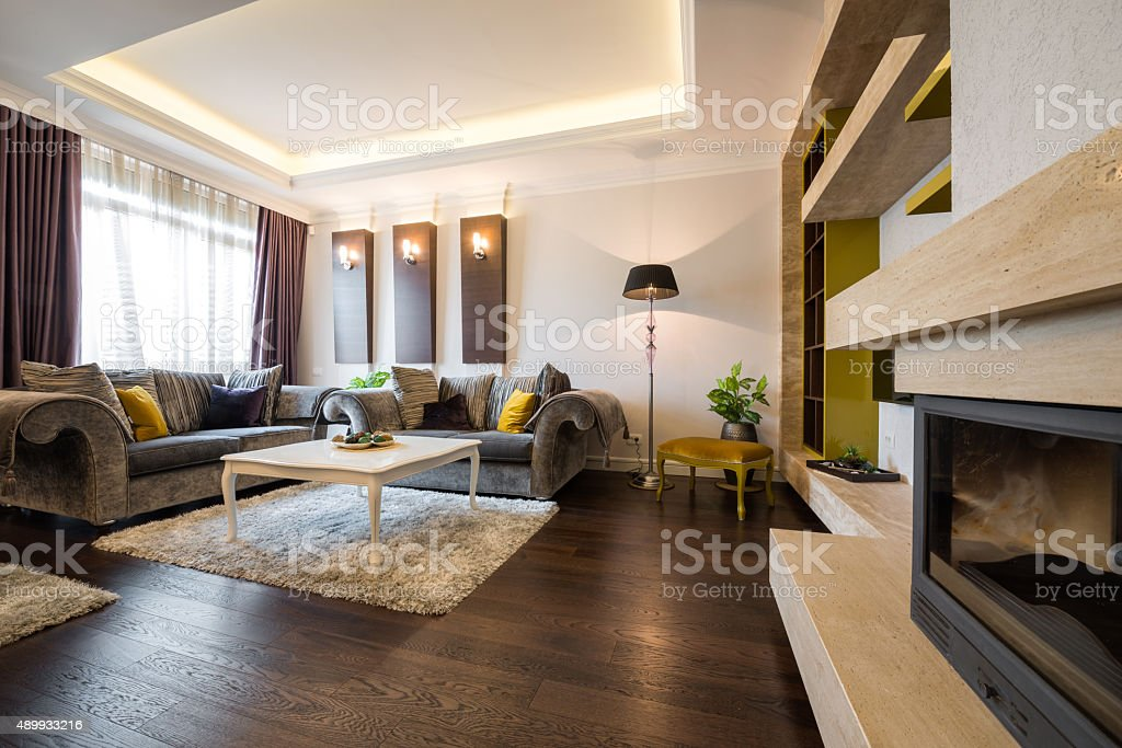 Interior of a living room stock photo