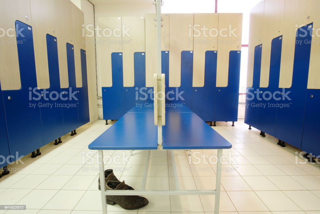 Interior of a locker room in fitness club stock photo