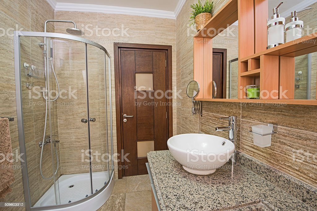 Interior of a luxury show home bathroom stock photo