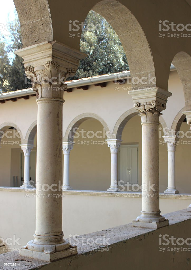 interior of a medieval cloister stock photo