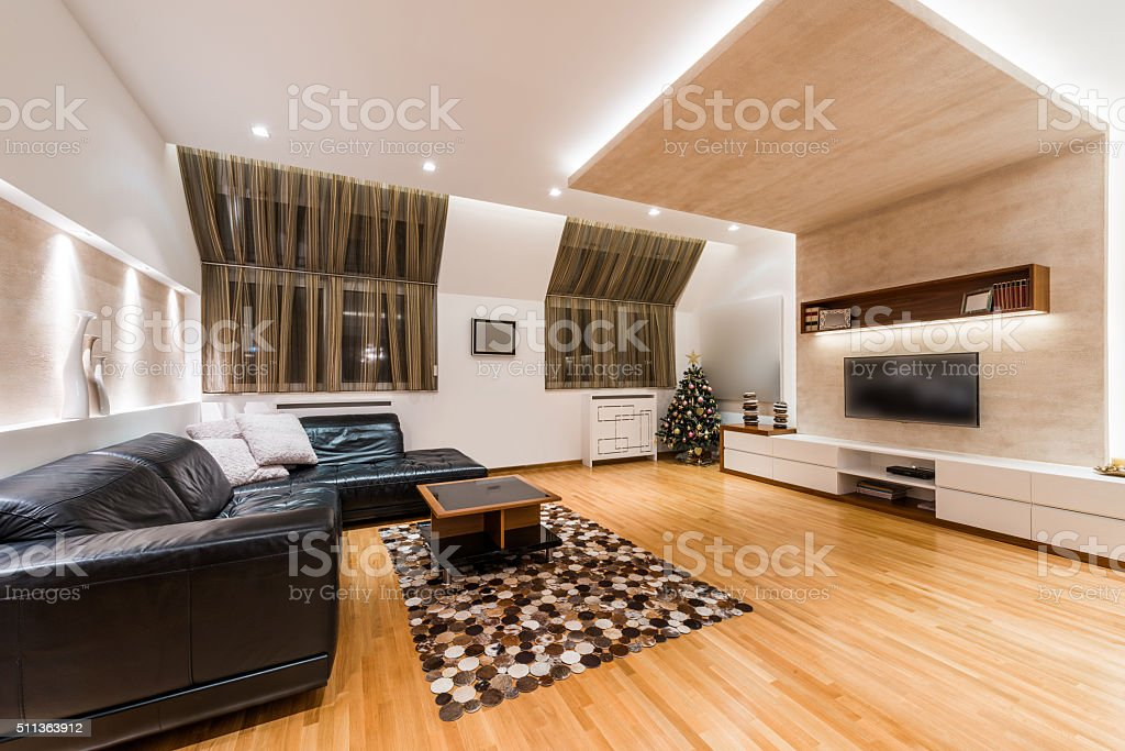 Interior of a modern apartment with Christmas tree stock photo