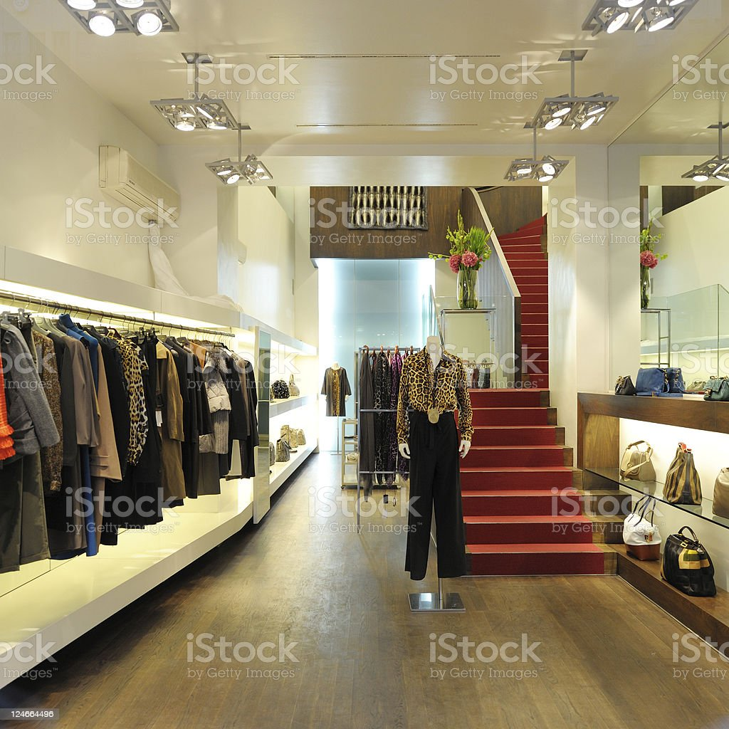 Interior of a modern boutique store stock photo