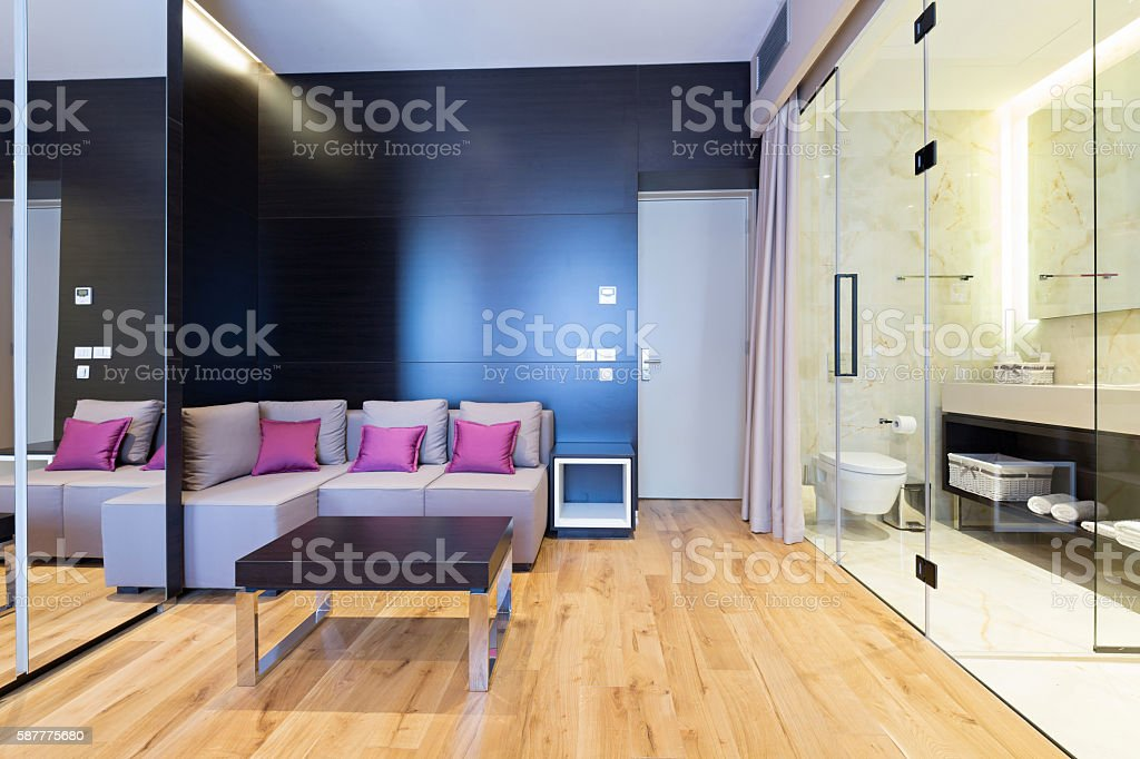 Interior of a modern hotel room with shower stock photo