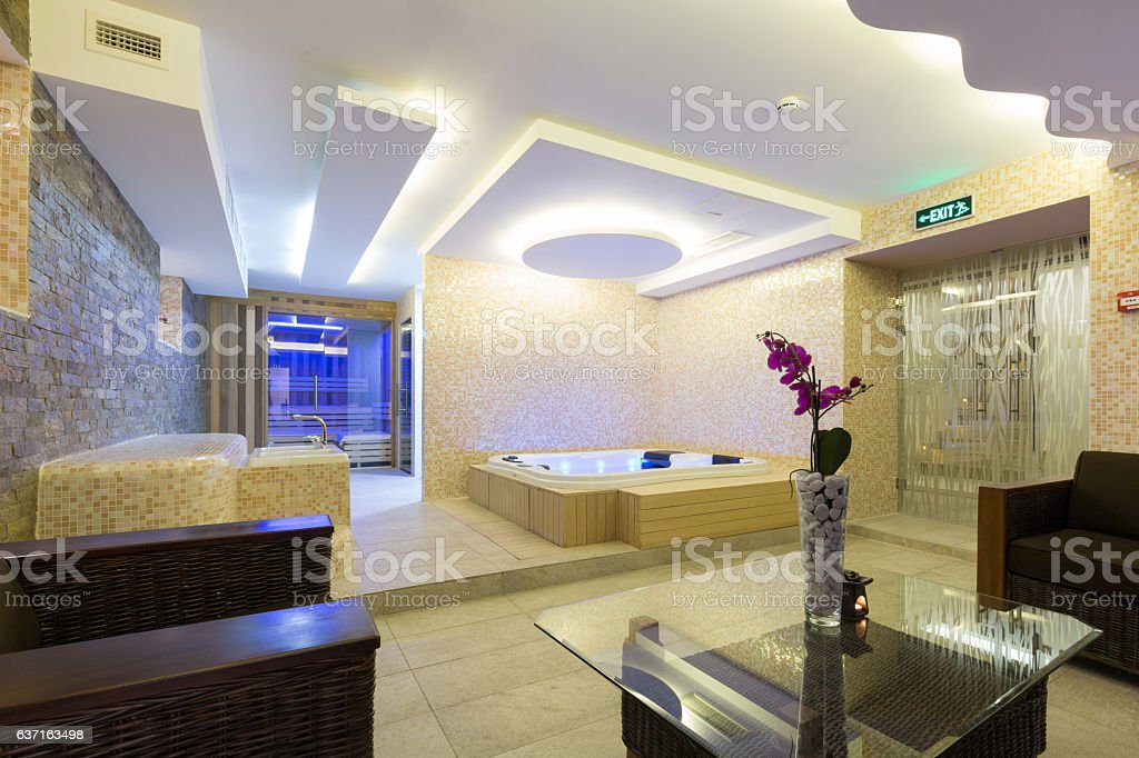 Interior of a modern hotel spa center stock photo