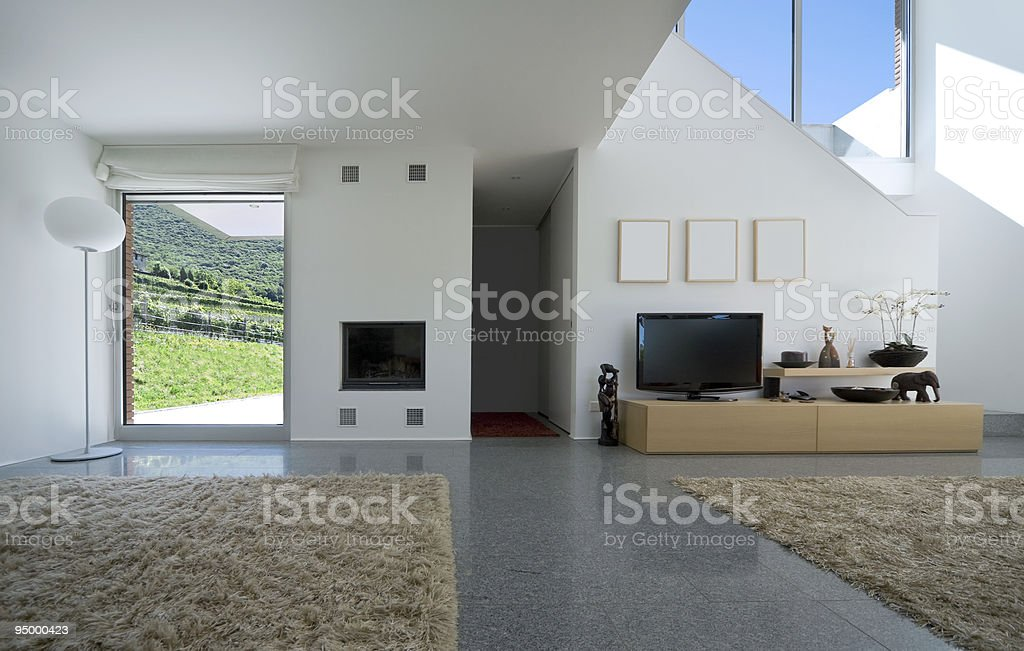 Interior of a modern house's living room royalty-free stock photo