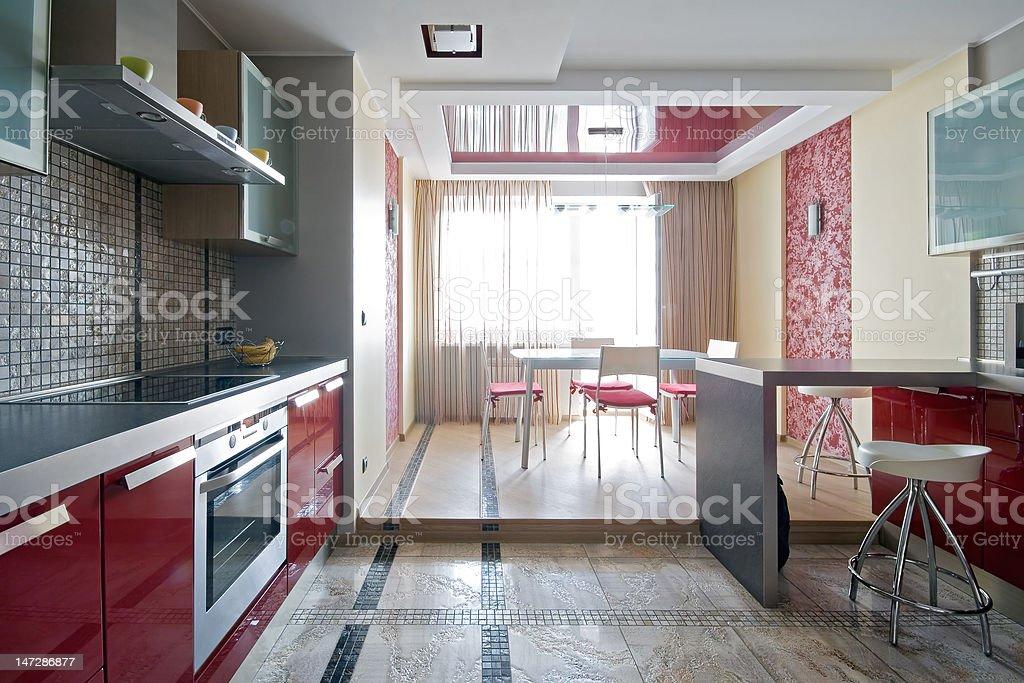 Interior of a new modern kitchen stock photo