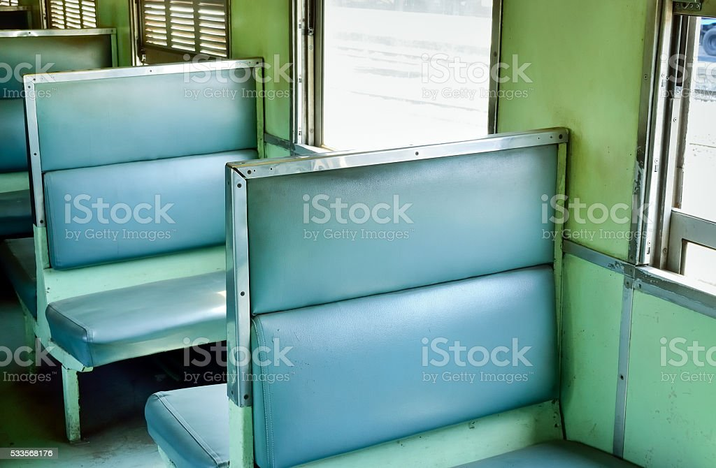 Interior of a old passenger train stock photo