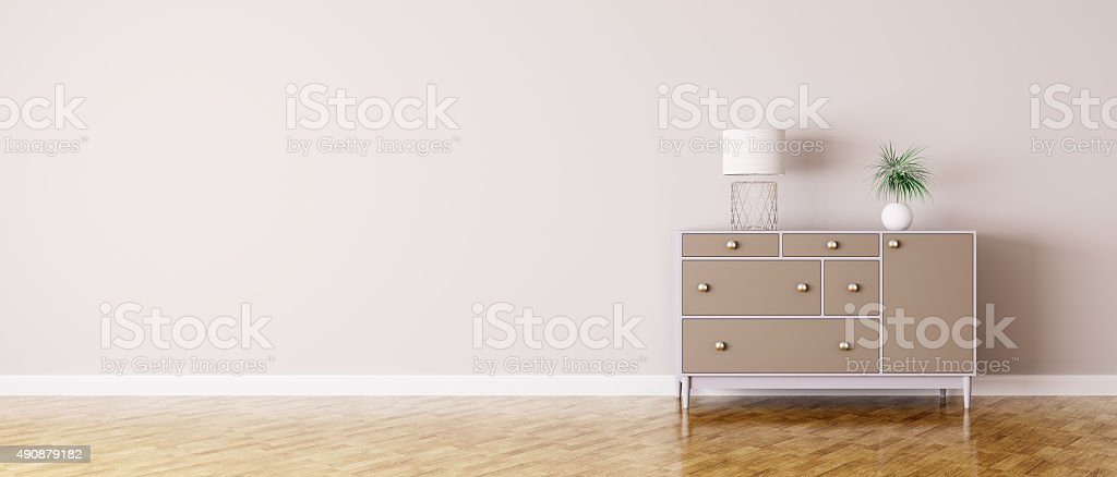 Interior of a room with chest of drawers stock photo