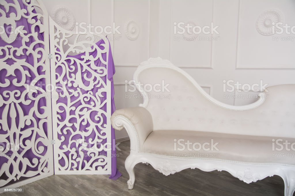 Interior of a room with retro furniture stock photo