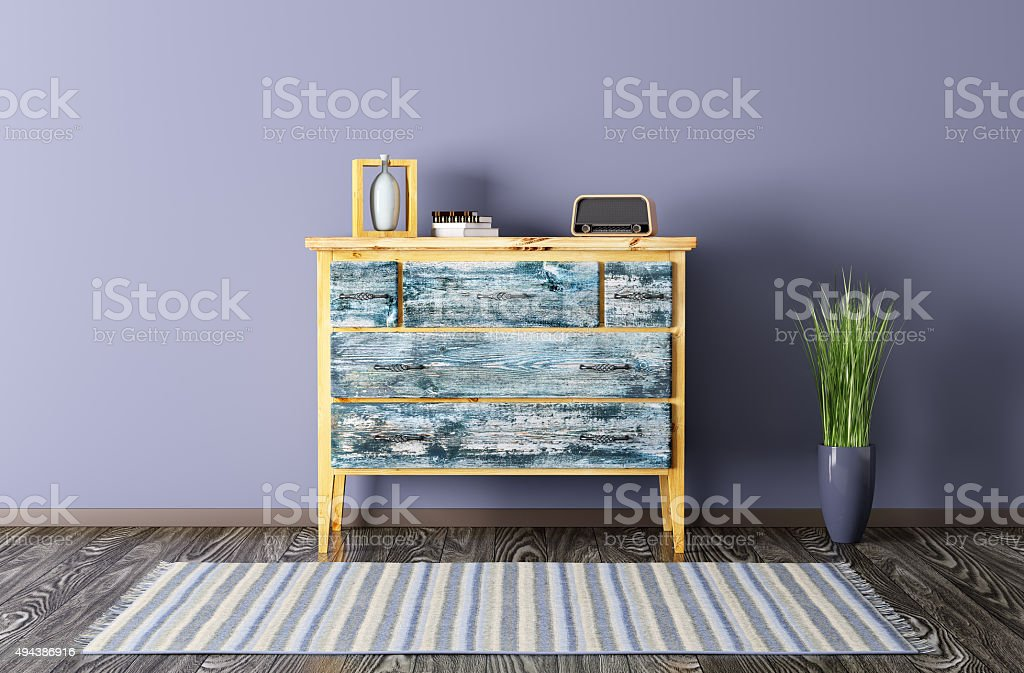 Interior of a room with vintage chest of drawers 3d render stock photo