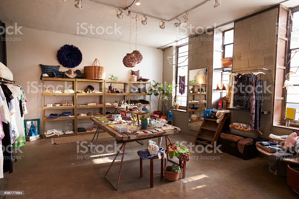 Interior of a shop selling clothes and accessories stock photo