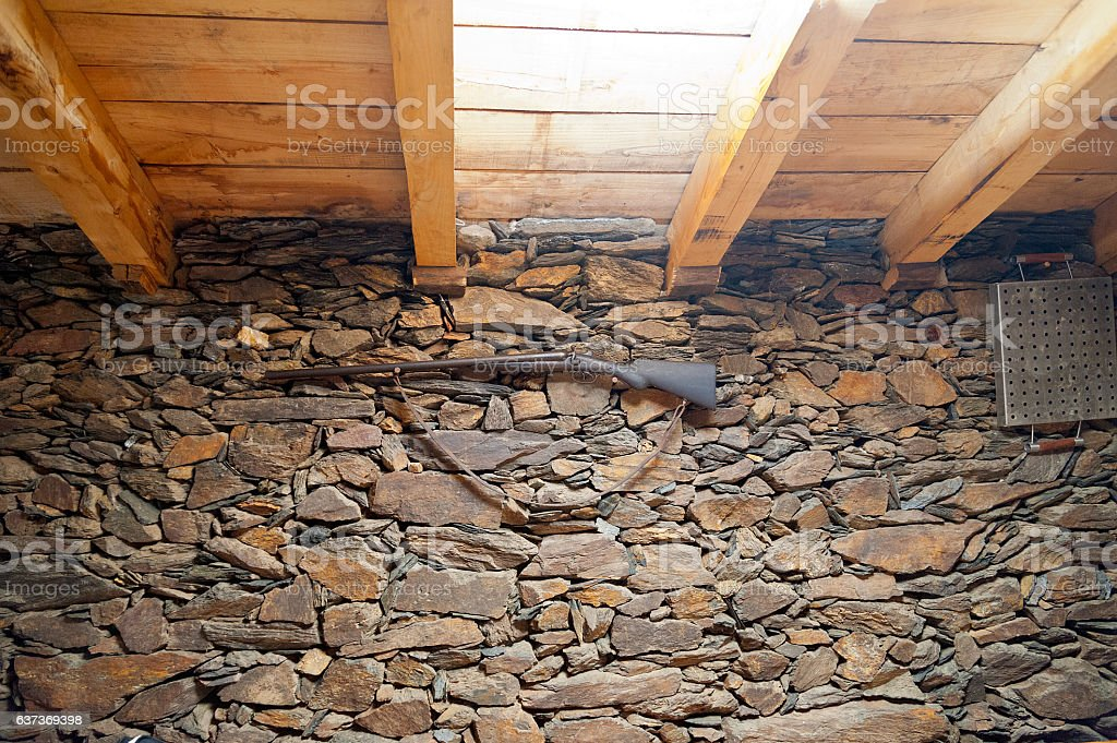 Interior of a small old cellar in the Ribeira Sacra stock photo