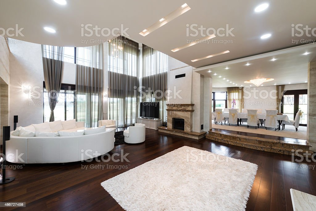 Interior of a specious dining room stock photo