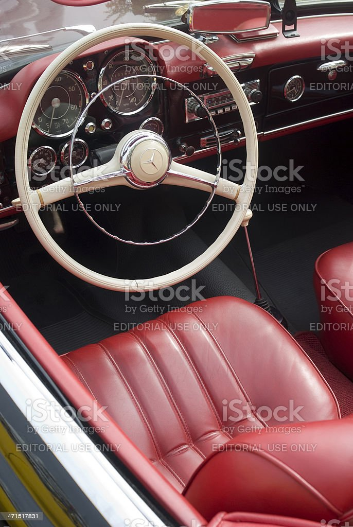 Interior of a vintage car royalty-free stock photo