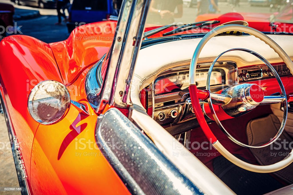 Interior of a vintage Car stock photo