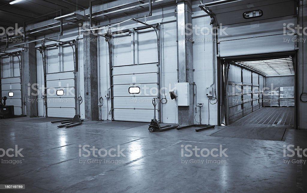 Interior of a warehouse at the docks stock photo