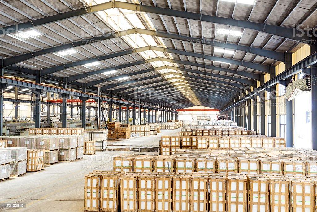 interior of a warehouse stock photo